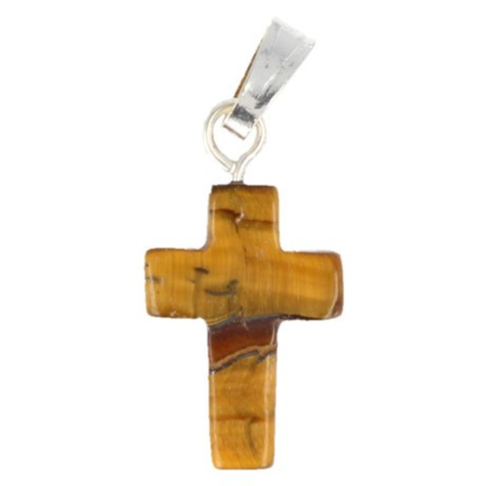 Tijgeroog kruis hanger 14 mm