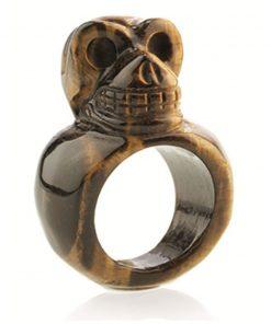 Tijgeroog schedel ring