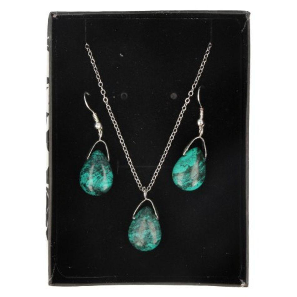 Turkoois druppel sieraden set - hanger / oorbellen