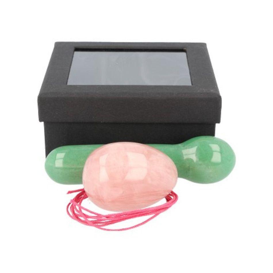 Yoni massage set Roze kwarts / Aventurijn groen