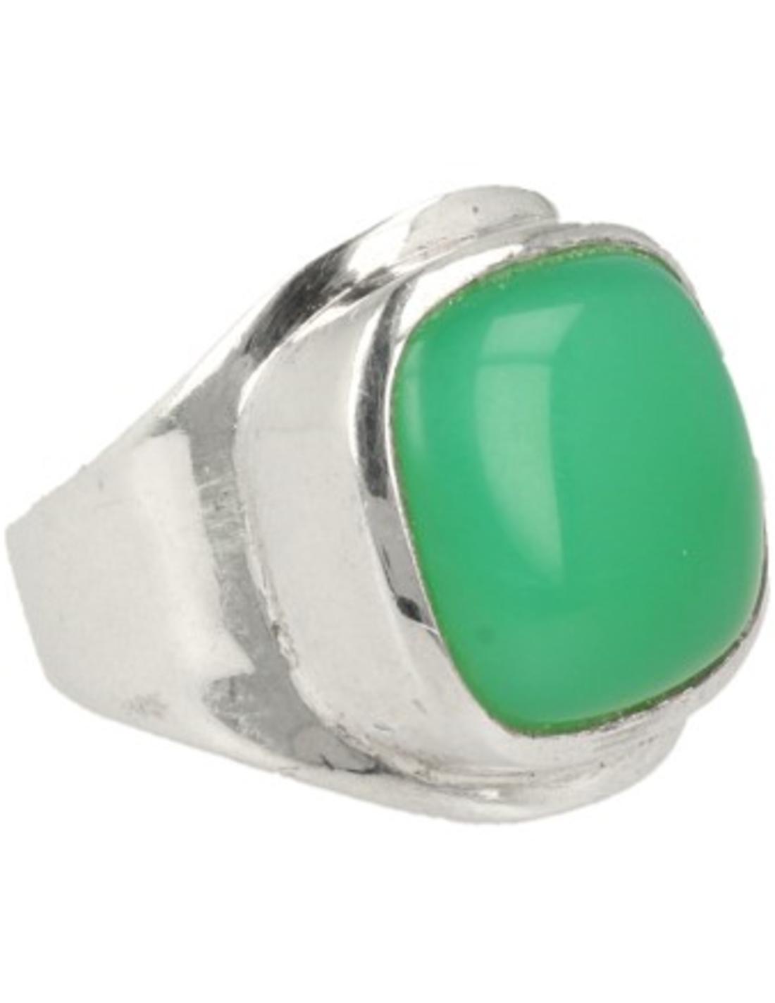 Chrysopraas ring in zilver (bijgekleurd) nr.2 - 17,25
