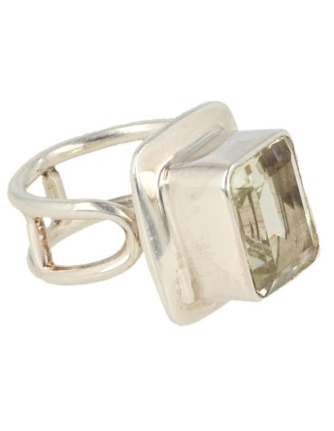 Groene Amethist ring in zilver nr.4 - verstelbaar