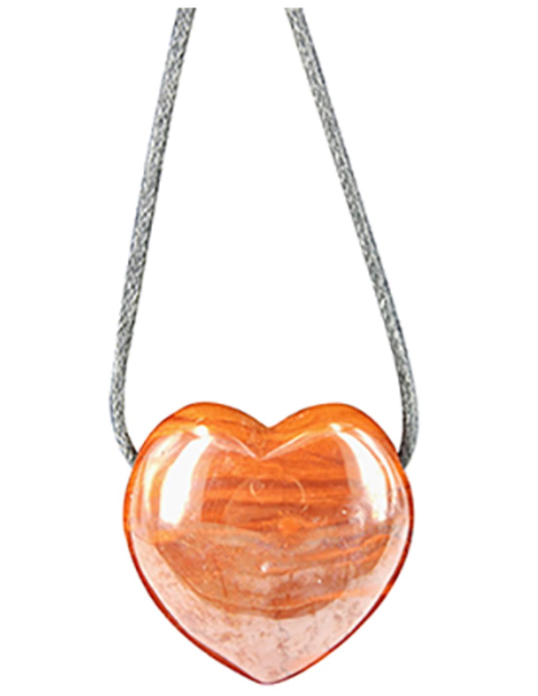 Jaspis rood hart hanger aan waskoord