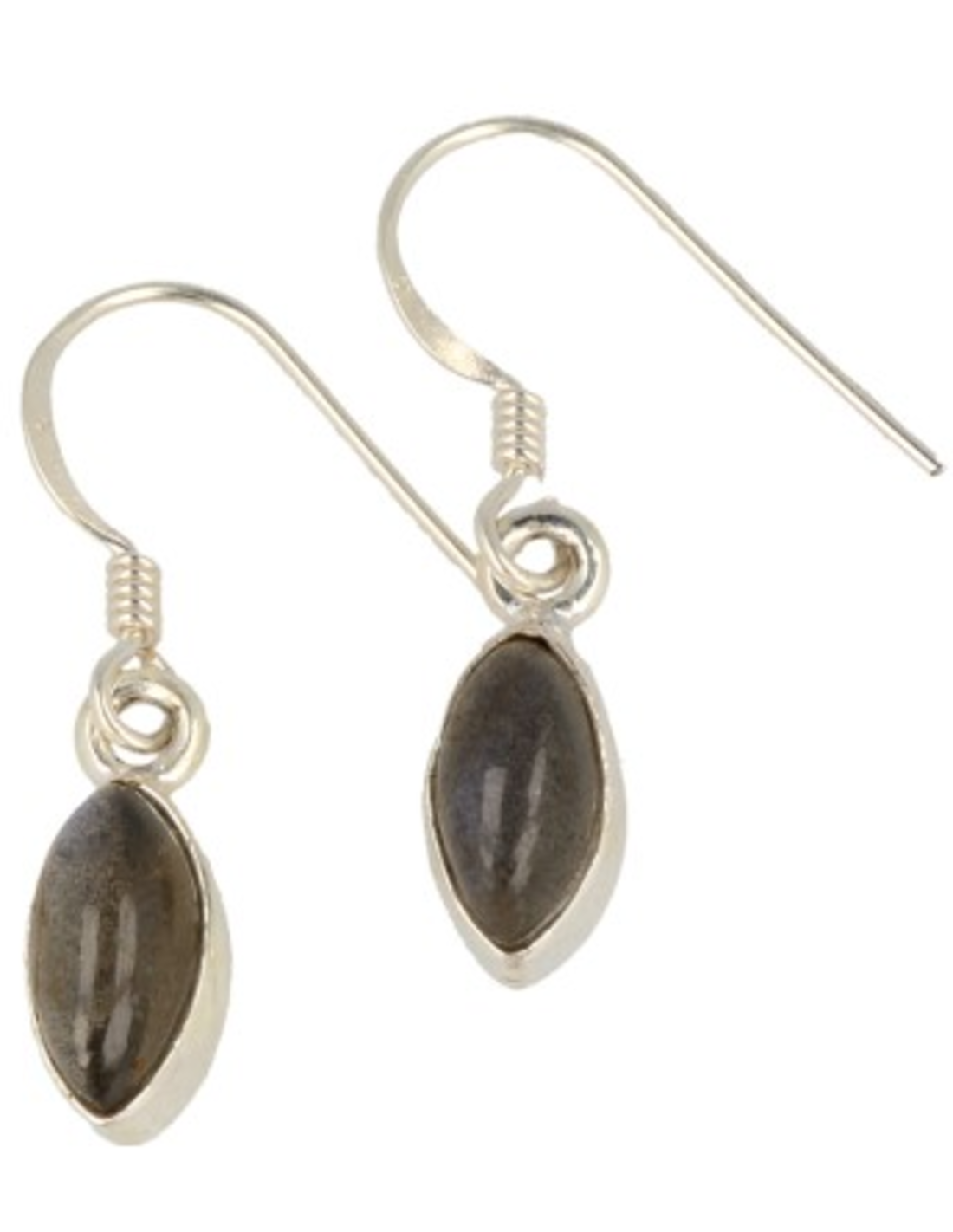 Labradoriet oorbellen markies in zilver