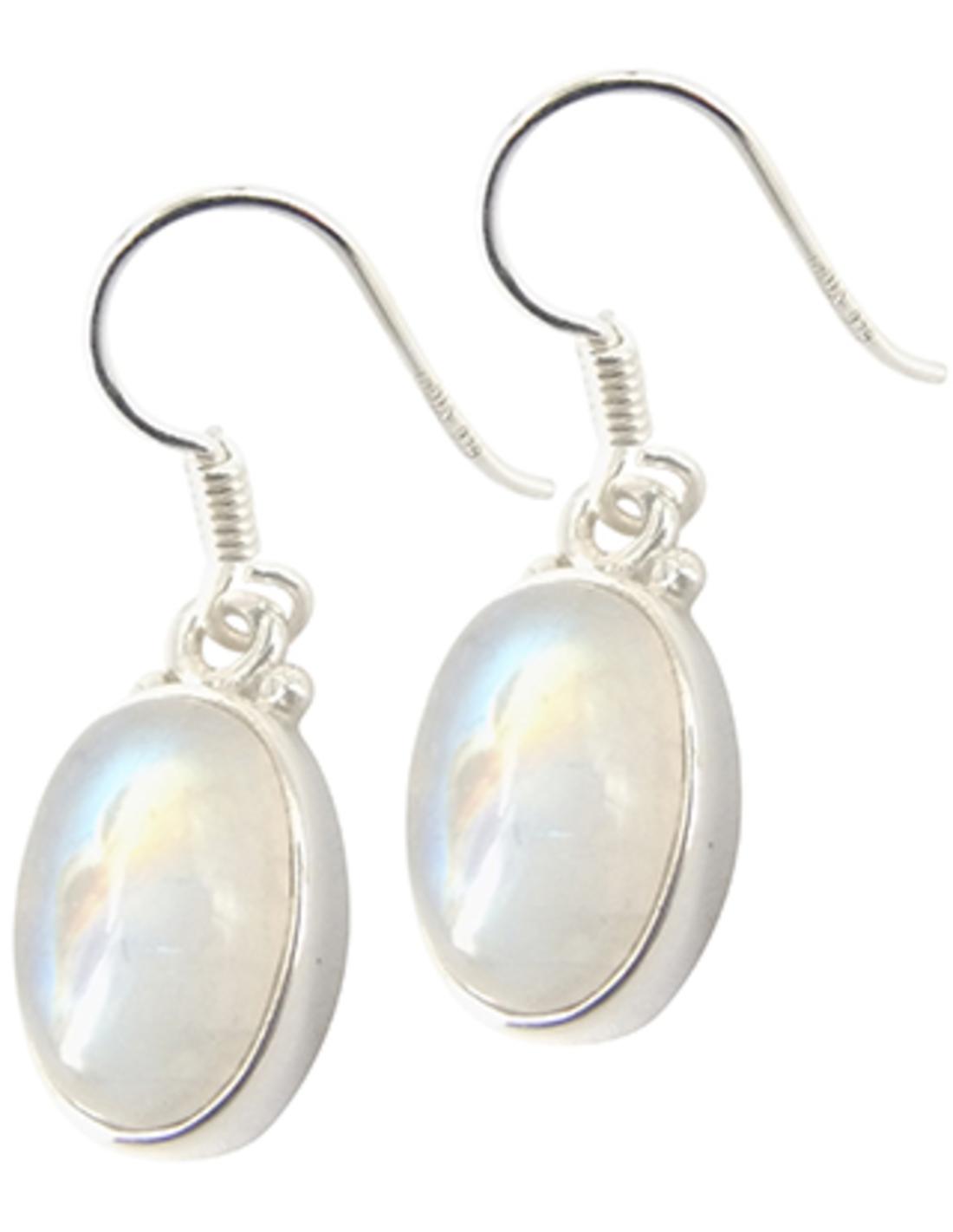 Maansteen regenboog oorbellen ovaal in zilver