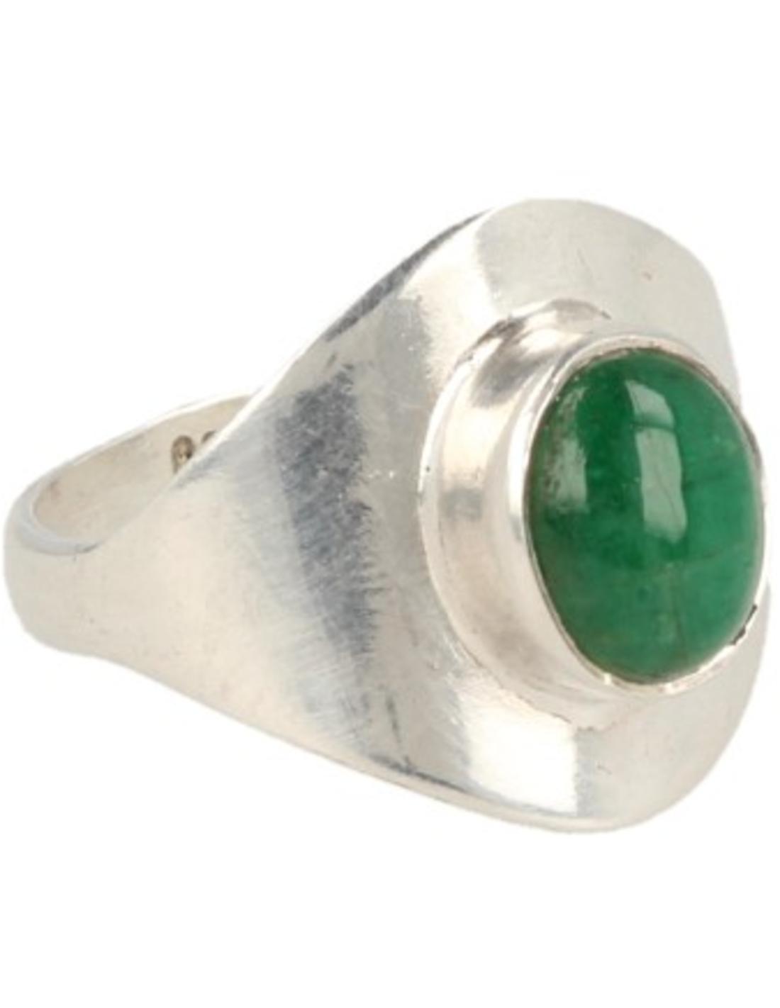 Smaragd ring zilver - 16,5