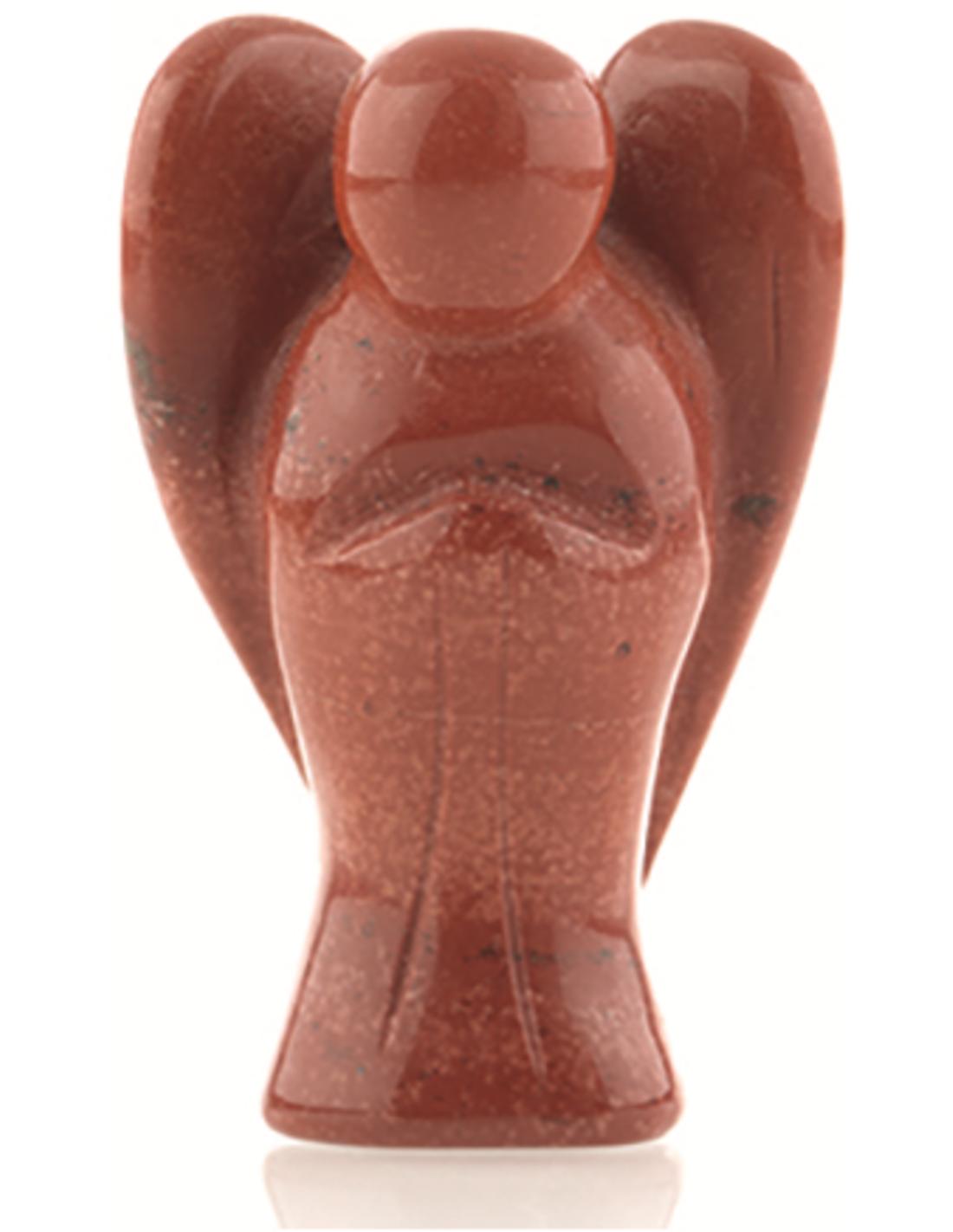 Staande engel 50 mm Jaspis rood