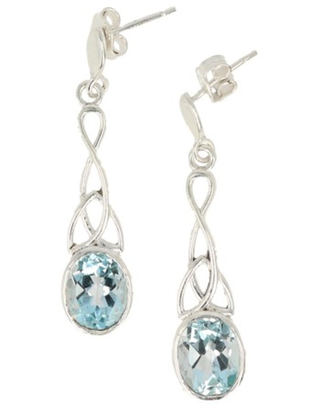 Topaas blauw zilveren oorbellen facet lang