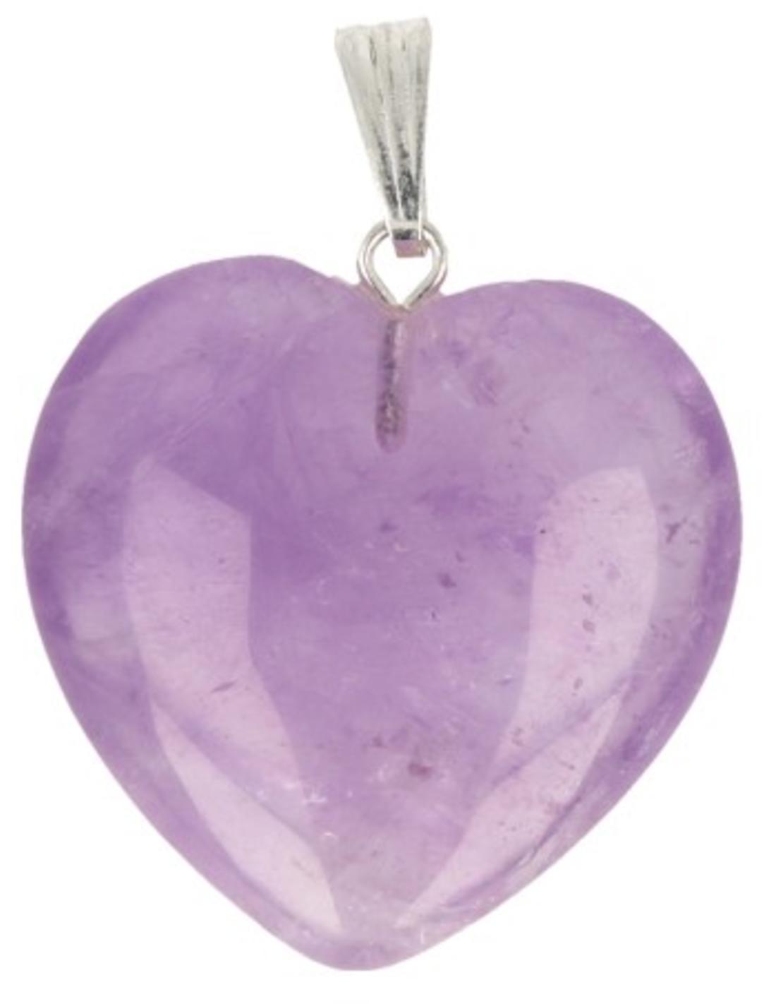 Amethist hart hanger 25 mm