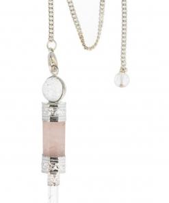 Bergkristal / Roze kwarts luxe pendel verzilverd