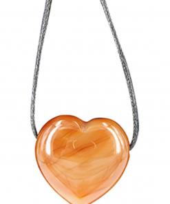 Carneool hart hanger aan waskoord