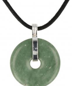 Chinese Jade donuthanger 30 mm aan koord