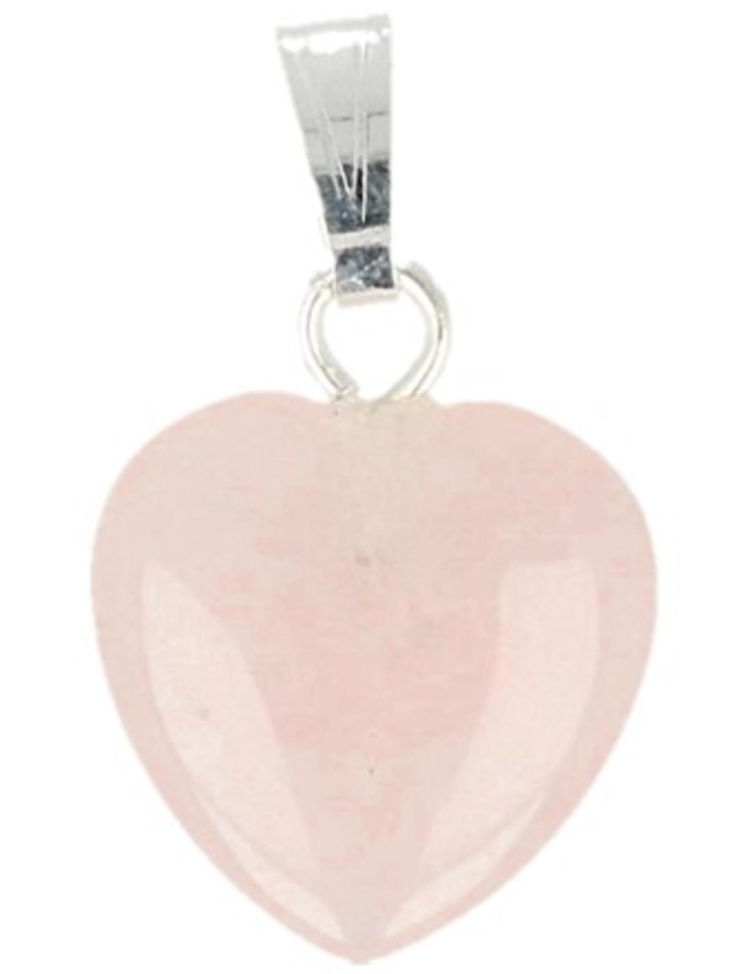 Roze kwarts hart hanger 12 mm